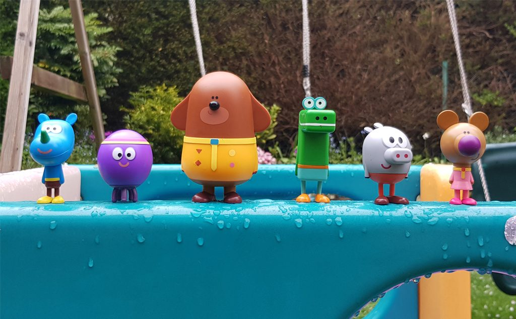 Photograph of the Hey Duggee toys on the pool